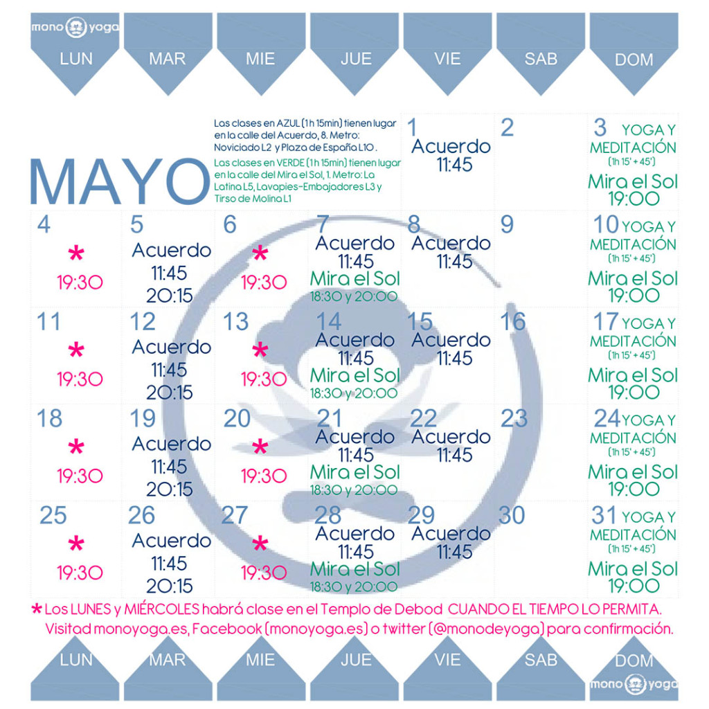 Calendario yoga Madrid mayo 2015